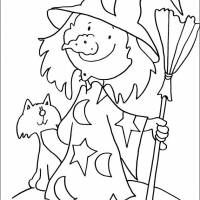 Free coloring and drawings Halloween funny witch Coloring page