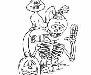 Free coloring and drawings Halloween Skeleton and black cat Coloring page