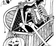 Free coloring and drawings Halloween The Skeleton Chest Coloring page