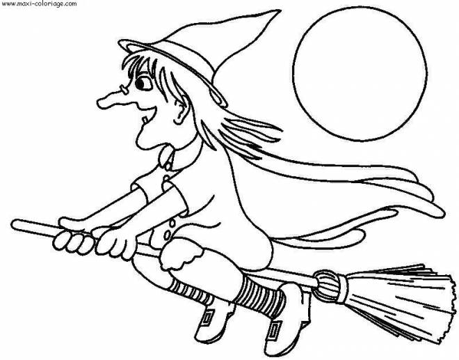 Free coloring and drawings Halloween witch on her broom Coloring page