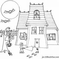 Free coloring and drawings Haunted house halloween Coloring page