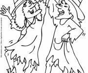 Free coloring and drawings Witches party Coloring page