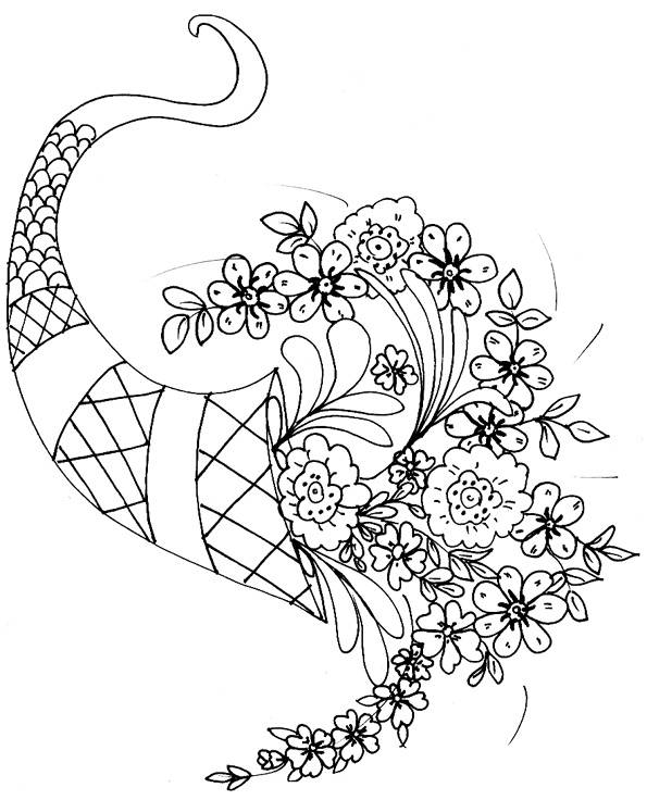 Free coloring and drawings A beautiful bouquet of flowers for the Mother Coloring page