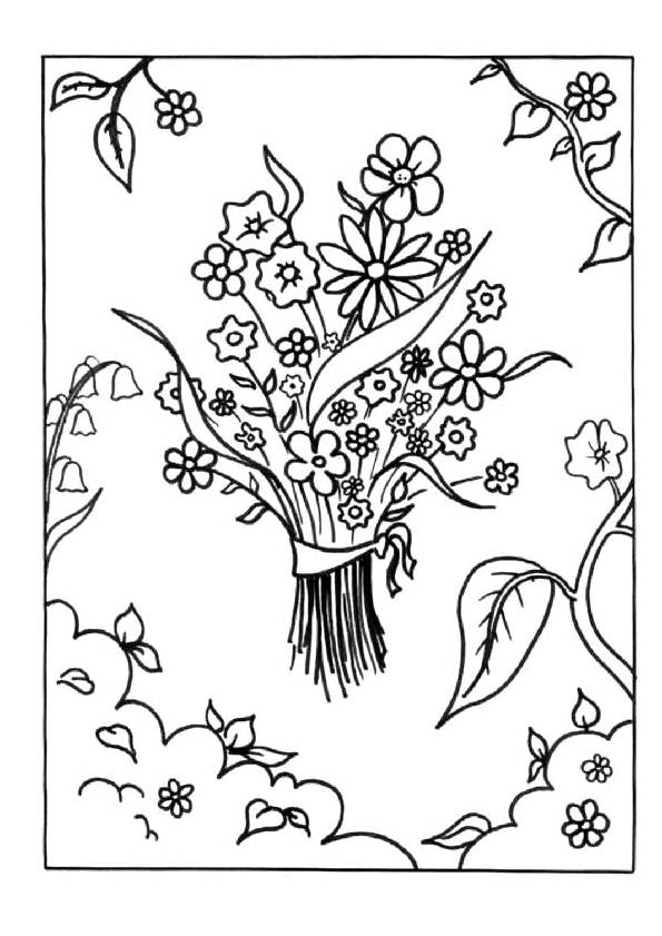Free coloring and drawings A Bouquet of Flowers for Mom Coloring page