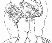 Coloring pages A boy carries his gift for Mother's Day