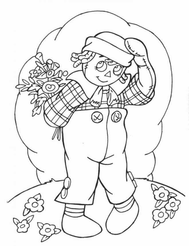 Free coloring and drawings A boy carries his gift for Mother's Day Coloring page