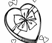 Coloring pages Heart gift for Mother's Day