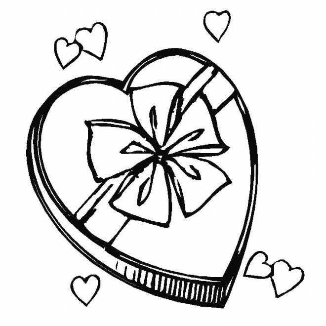 Free coloring and drawings Heart gift for Mother's Day Coloring page