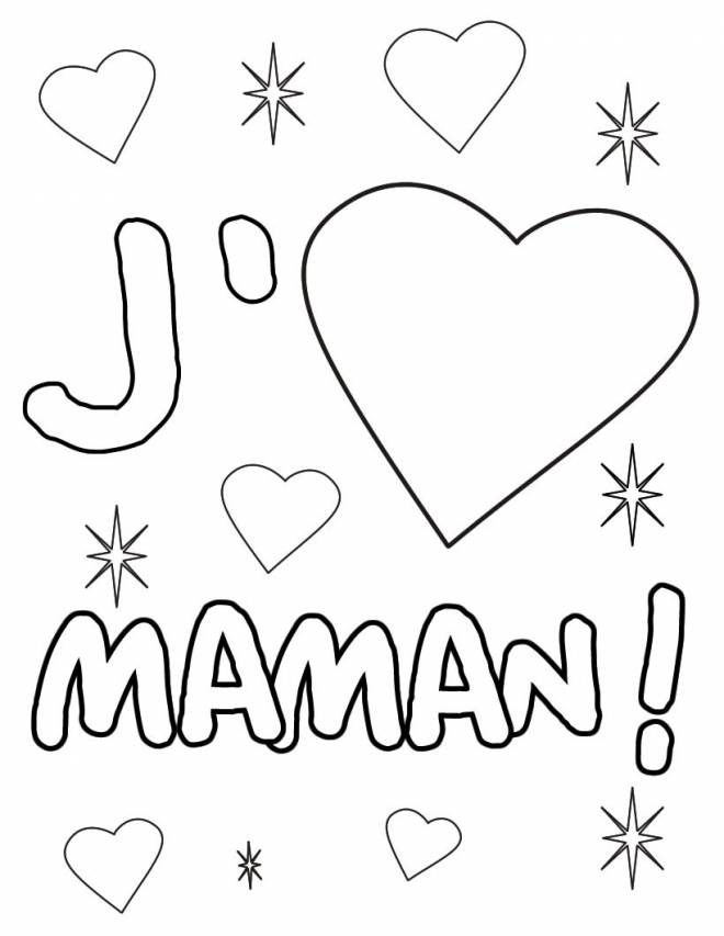 Free coloring and drawings I love you my mother Coloring page