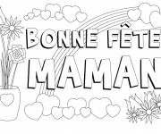 Coloring pages Mothers day greeting card