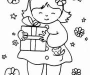 Free coloring and drawings The daughter takes a gift for her mother's birthday Coloring page