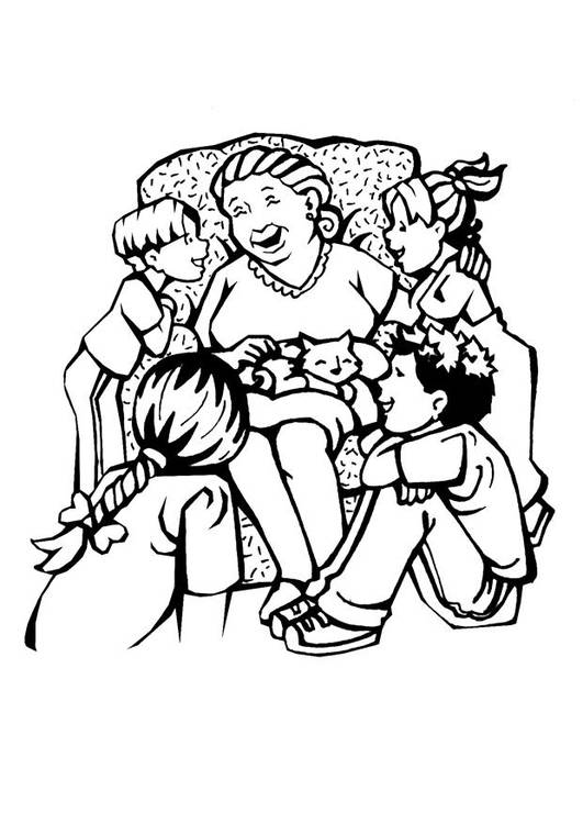 Free coloring and drawings The Mother between her children Coloring page