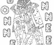Free coloring and drawings Anti stress coloring Happy New Year 2 Coloring page