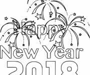Free coloring and drawings Happy new year 2018 Coloring page