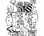 Free coloring and drawings Happy new year Coloring page