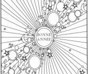 Free coloring and drawings Happy new year adult Coloring page