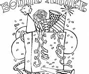Free coloring and drawings Happy New Year coloring page with party favors and balloons Coloring page