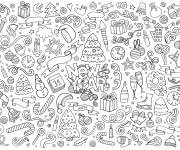 Coloring pages Happy new year doodle