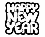Coloring pages Happy New Year lettering