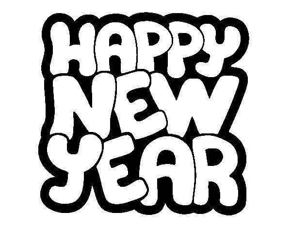Free coloring and drawings Happy New Year lettering Coloring page