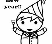 Free coloring and drawings New year party Coloring page