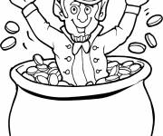 Coloring pages St. Patrick's Day and golden cauldron