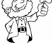 Coloring pages St. Patrick wearing clover