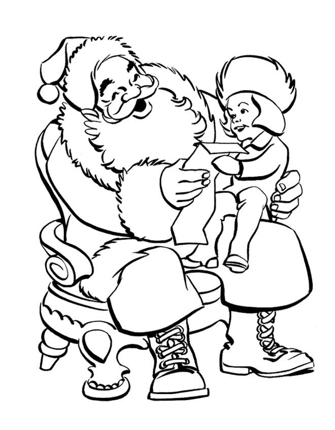 Free coloring and drawings A girl gives a letter to Santa Claus Coloring page