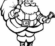 Free coloring and drawings Santa Claus carrying the Gift Bag Coloring page