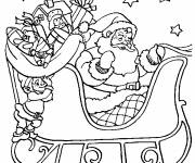 Free coloring and drawings Santa Claus on his sleigh Coloring page