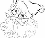 Free coloring and drawings Santa Claus wearing his glasses Coloring page