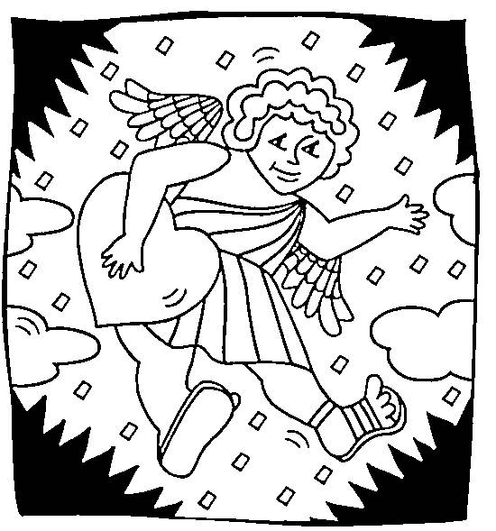 Free coloring and drawings Angel of love celebrates Valentine's Day Coloring page