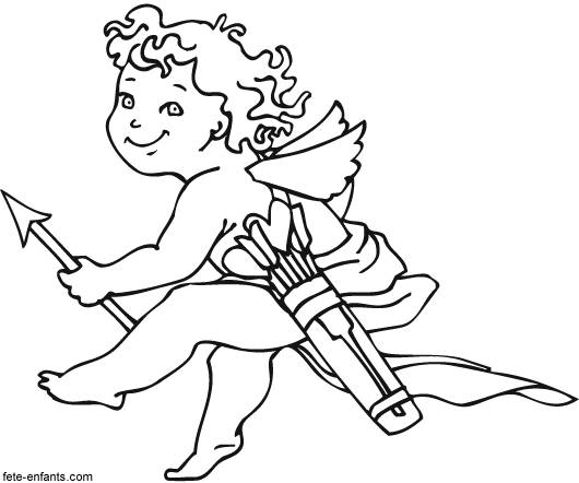 Free coloring and drawings Angel of love who visits The Lovers Coloring page