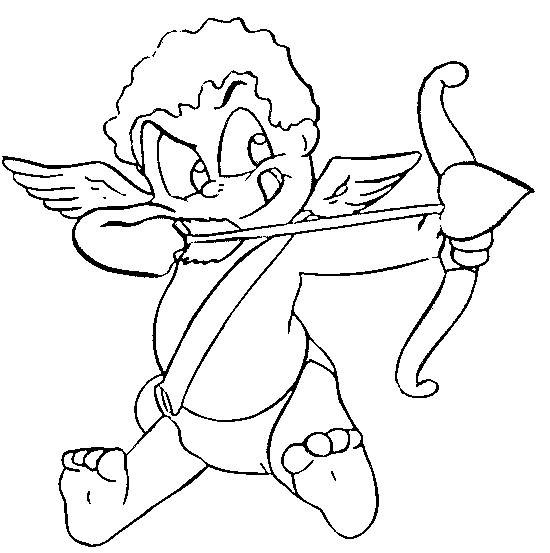 Free coloring and drawings Angel of love with his bow and arrows Coloring page