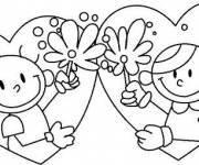 Coloring pages Boy and Girl in Hearts for Valentine's Day