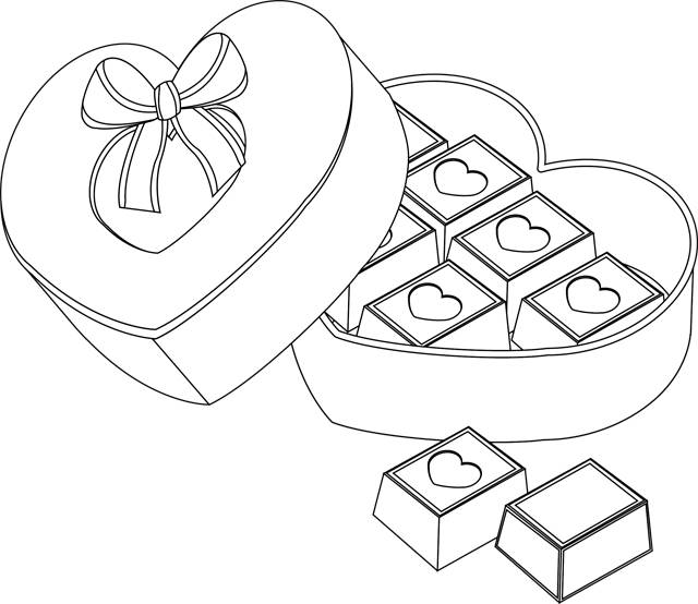 Free coloring and drawings Chocolate for Valentine's Day Coloring page