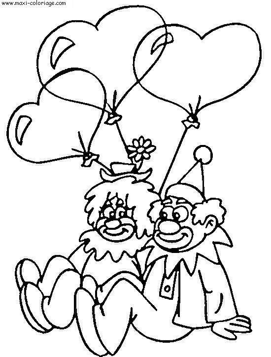 Free coloring and drawings Clowns and Valentine's Day Coloring page
