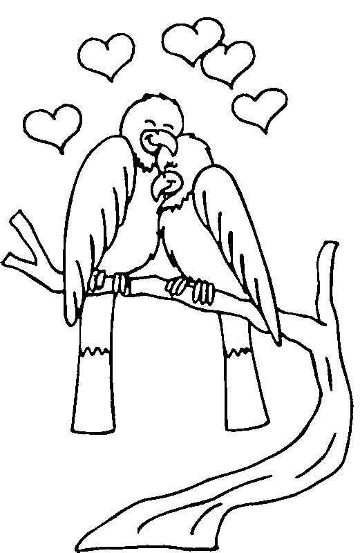 Free coloring and drawings Couple of Birds in Love Coloring page