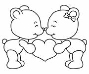 Coloring pages Cute bears carrying a Heart of love