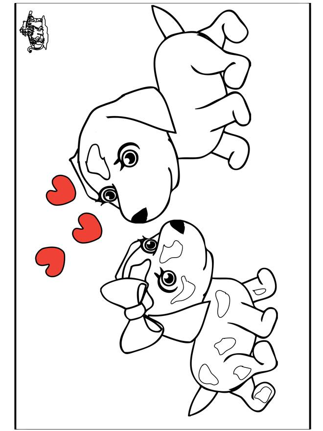 Free coloring and drawings Dog and Love to be colored Coloring page