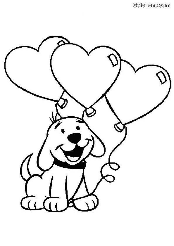 Free coloring and drawings Dog wears Balloons for Valentine's Day Coloring page