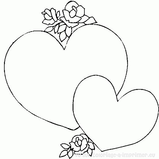 Free coloring and drawings Easy hearts for lovers Coloring page