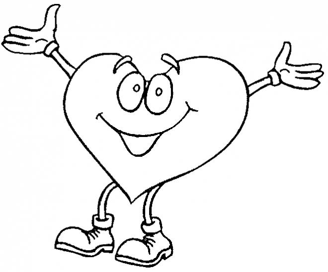 Free coloring and drawings Happy love heart Coloring page
