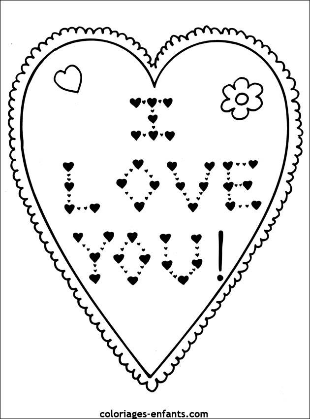 Free coloring and drawings Heart and Expression of Love Coloring page