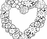 Coloring pages Heart decorated with Flowers