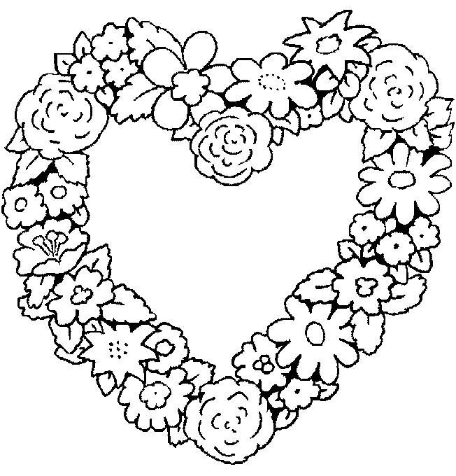 Free coloring and drawings Heart decorated with Flowers Coloring page