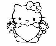 Coloring pages Heart worn by Hello Kitty