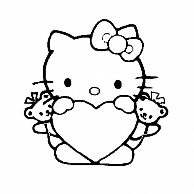 Free coloring and drawings Heart worn by Hello Kitty Coloring page