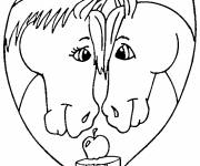 Coloring pages Horses and Heart of love