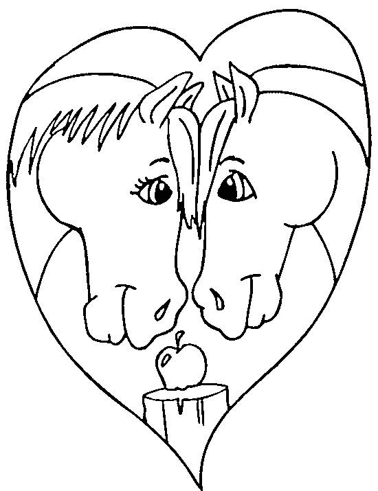 Free coloring and drawings Horses and Heart of love Coloring page
